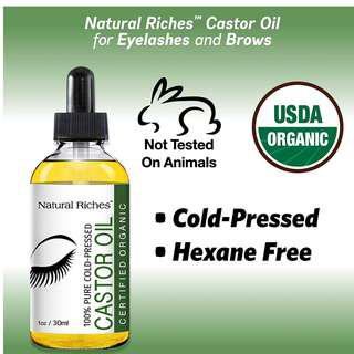 Natural Riches Pure organic Castor Oil for Beautiful Lush Eyelashes & Eyebrows 1oz (30ml)