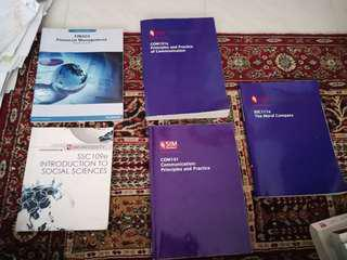 UNISIM/SUSS TEXTBOOKS COM101 , COM 101E , SSC111E ,  SSC109E , FIN303(old version)
