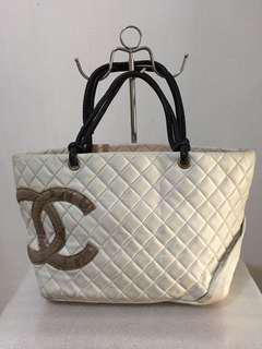 Preloved CHANEL Caflskin Quilted Phyton Large Cambon Tote White