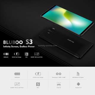 BLUBOO S3, 4GB+64GB, Dual Back Cameras, Face & Fingerprint Identification, 8500mAh Battery, 6.0 inch Android 7.0 MTK6750T Octa Core up to 1.5GHz, Network: 4G, VoLTE, NFC, WiFi, GPS, OTG, Bluetooth, Dual SIM