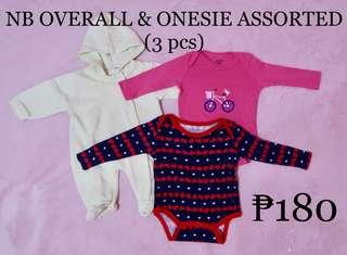 NEWBORN ONESIE & OVERALL ASSORTED (3pcs)