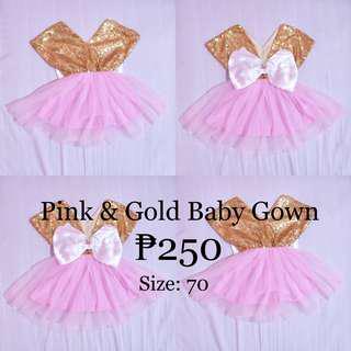 NEWBORN TUTU DRESS PINK & GOLD