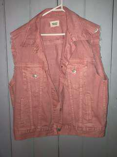 Pink Oversized Denim Vest