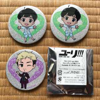Yuri on Ice with a WISH (variable marriages) badges