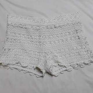 Crochet shorts with flaw some loose threads