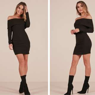 Hearts Are Wild off the shoulder dress in black (FOR RENT)