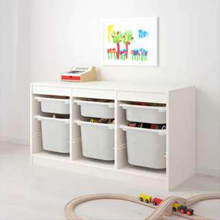 TOY storage with 6 pink and red plastic bins