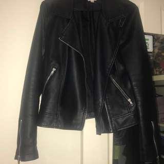 Size 12 Black Faux Leather Biker Jacket