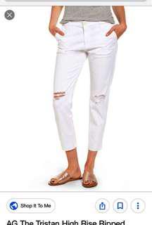 High waist Ripped jeans white colour