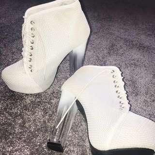 White Platform Lace Up Heels