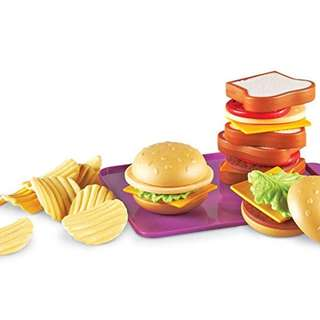 Learning Resources New Sprouts Super Sandwich Set steam toy 小童學習食物漢堡包玩具 29pc