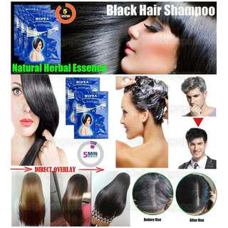 [KIELLP-女人我最大]Nivea Hair Color Black Shampoo Wash & Instant Black Dye Natural Herbal Essences Fomulation/Cover Grey White Hair Completely