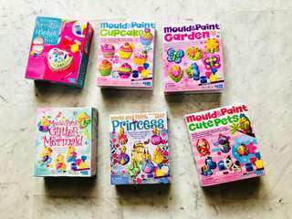 6 Mould & Paint Arts & Craft Toys for Kids. Leftover from birthday party favors
