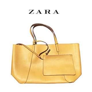 Zara turnlock carryall tote bag