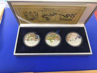 Vietnam 2001 & 2002 Year of Snake & Horse 10000 Dong Silver Proof 3 -1 coin