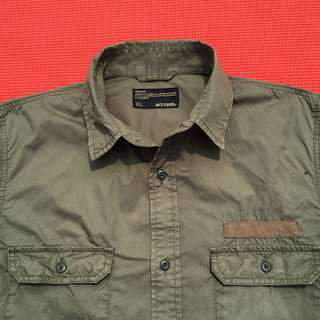 Japanese BACK NUMBER military army green l/s shirt