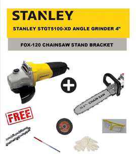 Chainsaw stand with Stanley grinder