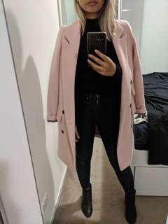 Wool blend pastel pink coat