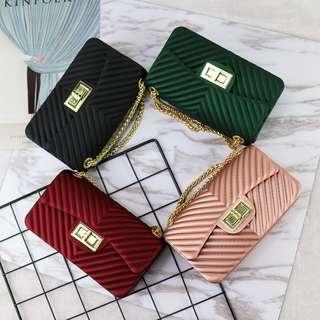 Korean Jelly Sling Bag (Lines)