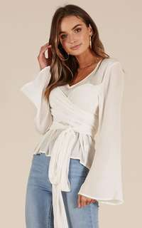 Showpo white wrap top