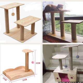 (New!) pine wood cat scratch tree pole house bed play