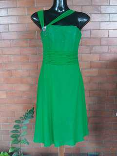 Cocktail Dress Gown Green Tulle Fabric
