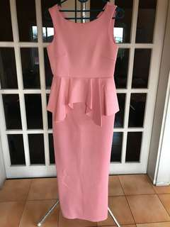 Long pink dress with peplum
