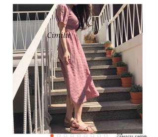 V領綁帶髒粉色藕粉色收腰長洋裝