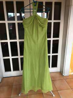 Long green halter dress