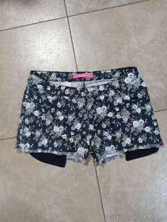 Floral denim shorts