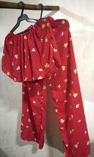 Red Floral Terno (Unused & Bnew)