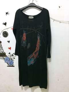 (SALE)dress import hitam stretch