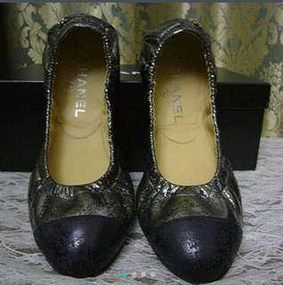 🚚 Chanel鐵灰色冰裂紋娃娃鞋