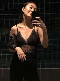 Eyelash lace bodysuit
