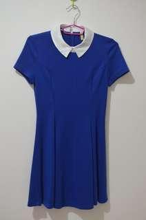 Cute Korean Style Blue Collared Dress