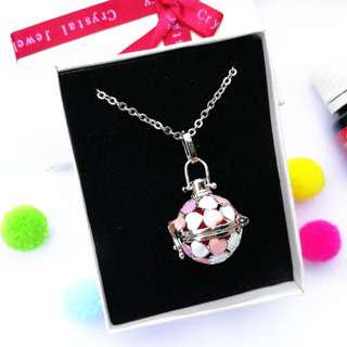 Pink Hearts Diffuser Necklace
