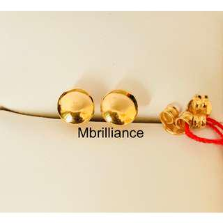 Plain round button earstuds  916 Gold
