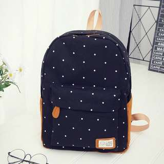(Ready Stock) Girl's Polka Dot Black Big School Bag Backpack