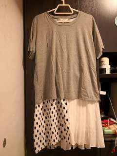 灰色波點連身裙
