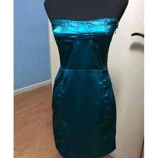 Blue Satin Tube Dress