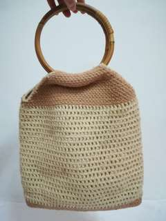 Crochet Bag with Rattan Handle