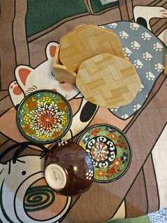 🚚 水墨畫竹製杯墊和異國特色茶杯