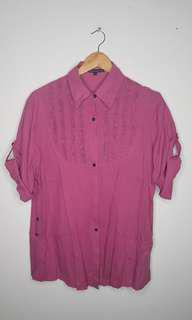 Pink Folded Sleeves Blouse Button Down Size XL