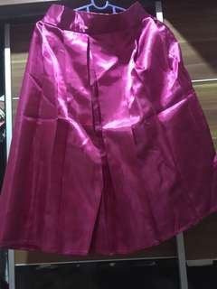 Satin Flare Skirt in Pink