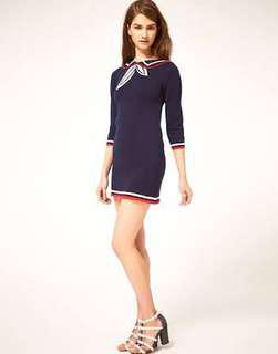 Asos Knitted Dress with Sailor Color (Navy Blue)
