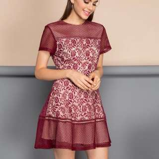 The Stage Walk Amber Romance Lace Crochet Dress in Maroon