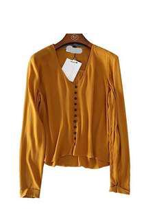 Stradivarius turmeric chiffon top 泥黃色長袖雪紡上衣