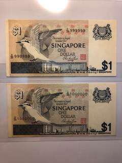 1 pair of Singapore Bird $1 D/39 999999-1000000 Golden Solid number Original UNC