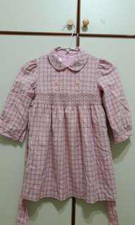 🚚 粉色格紋秋冬洋裝