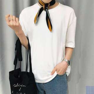 Korean Basic Loose White Tee Shirt